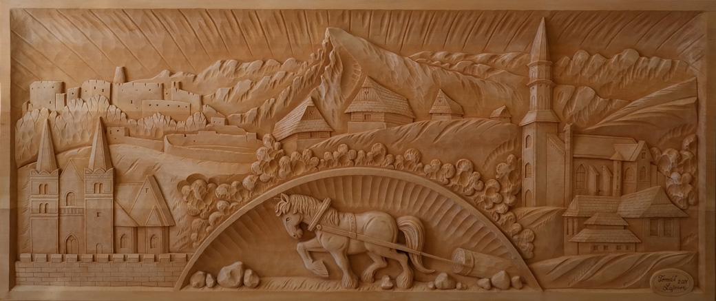 vyrezávaný obraz, drevorezba, rezbárstvo